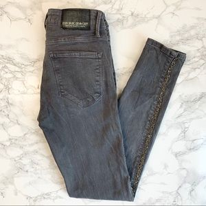 ZARA Denim Gray Skinny Jeweled Mid Rise Jeans
